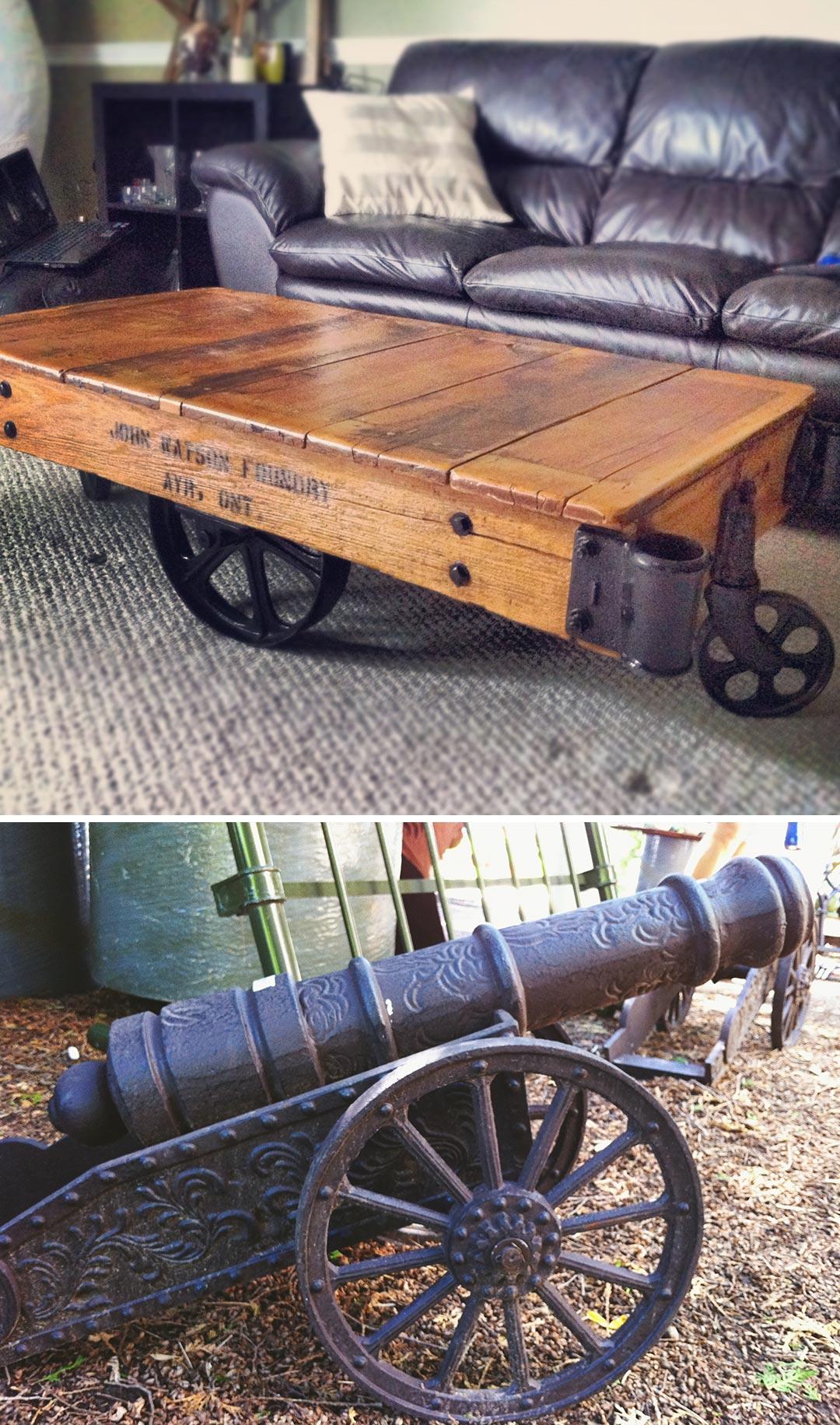 aberfoyle market finds: rail cart coffee table + a mini cannon