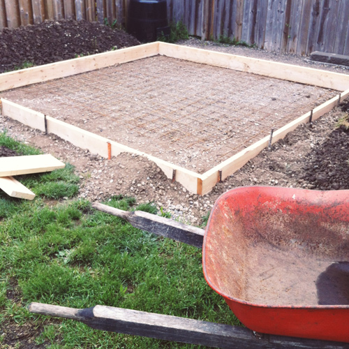 how to build a concrete slab on a hill