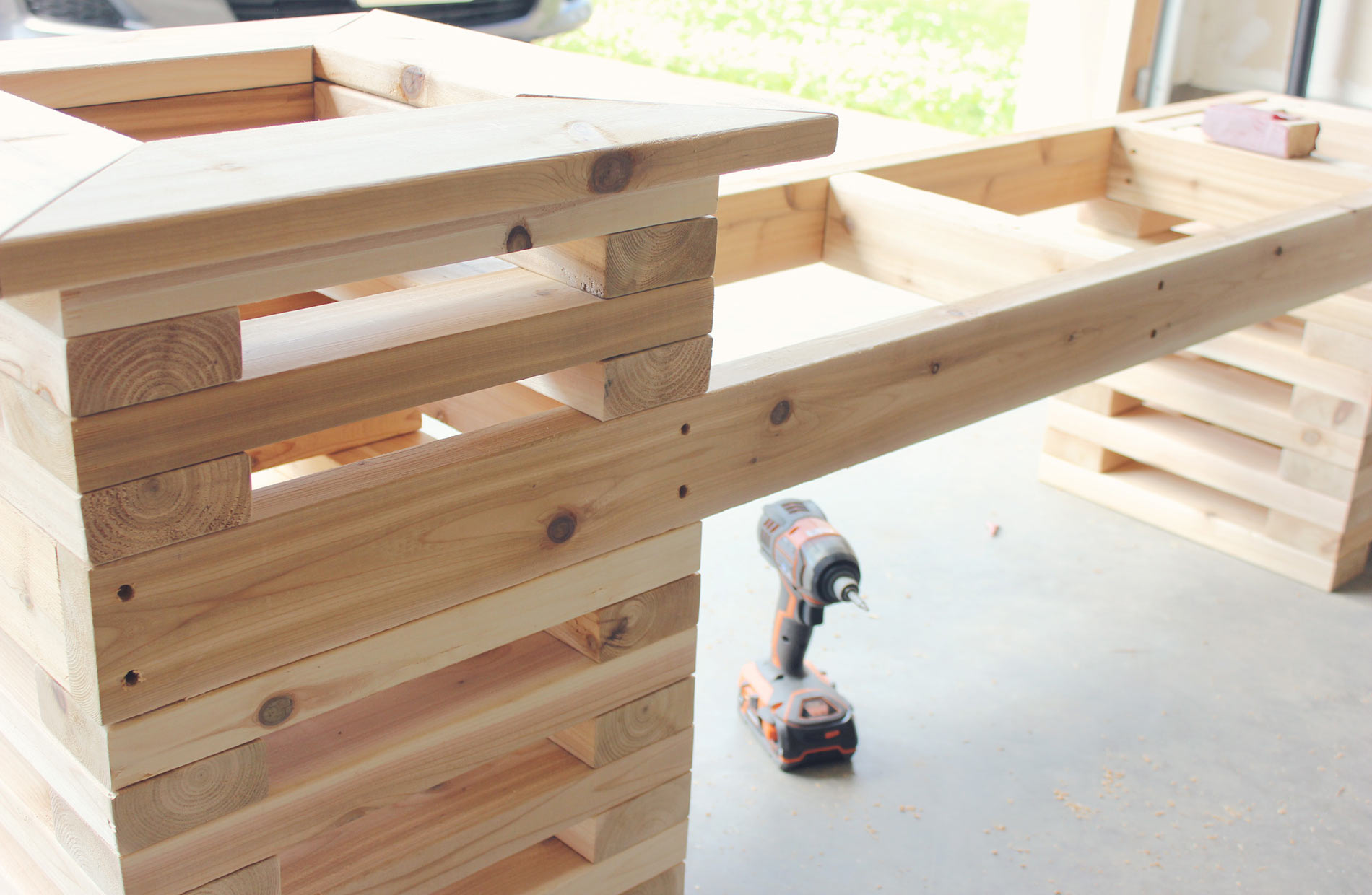 Cedar-Bench-Building-Framed