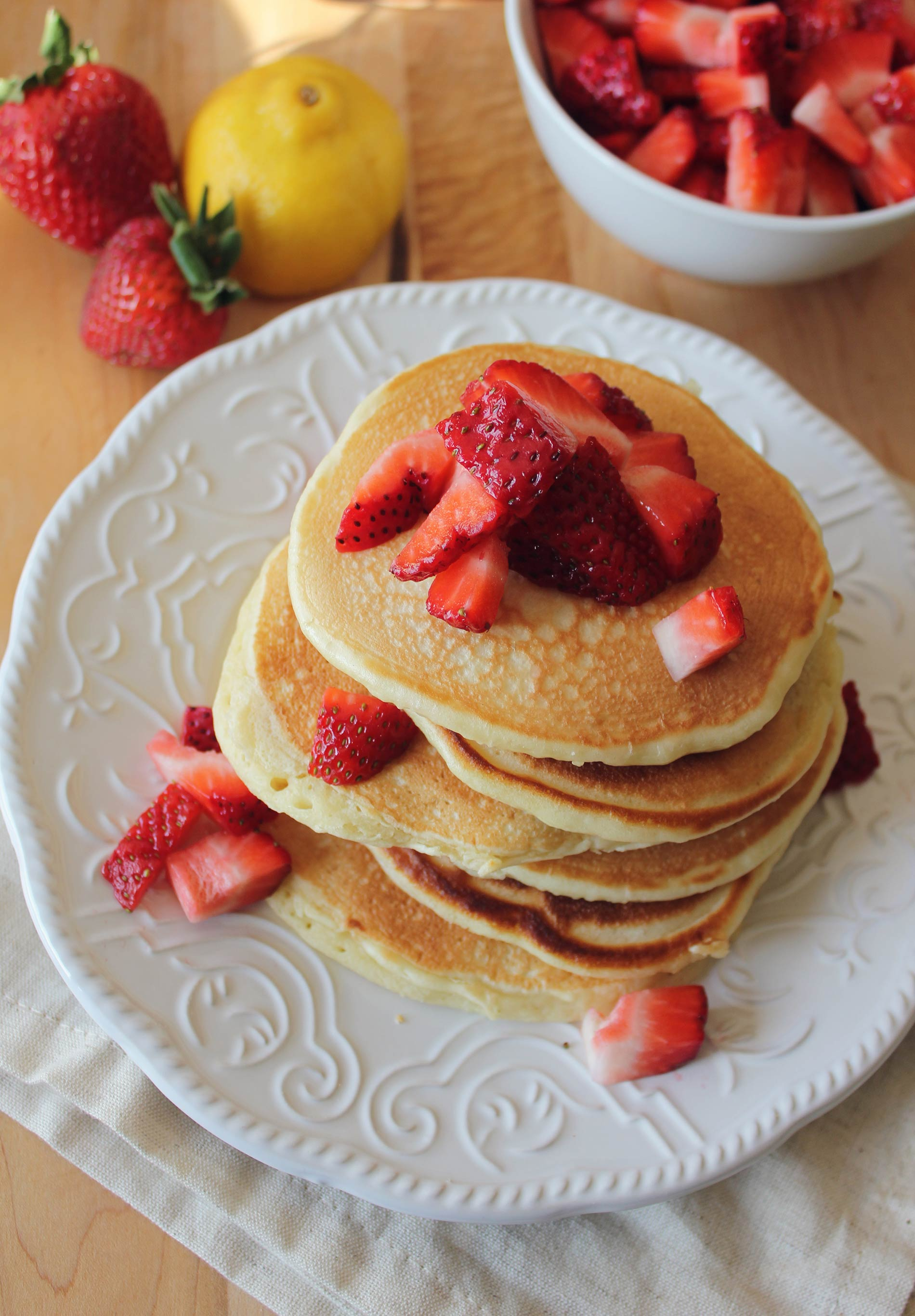 Lemon Pancakes Topped with Strawberries