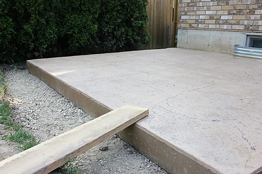 Project backyard pouring a concrete pad brittany stager for Best weather to pour concrete