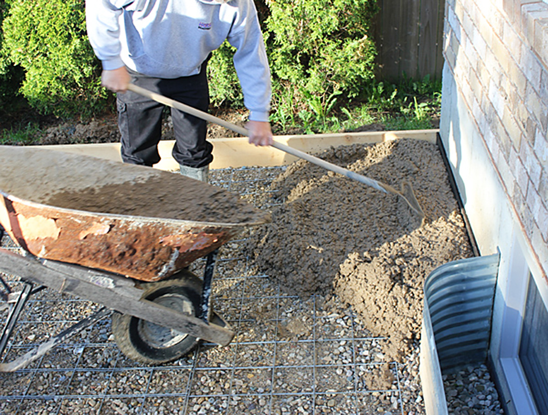 how to build a concrete patio slab