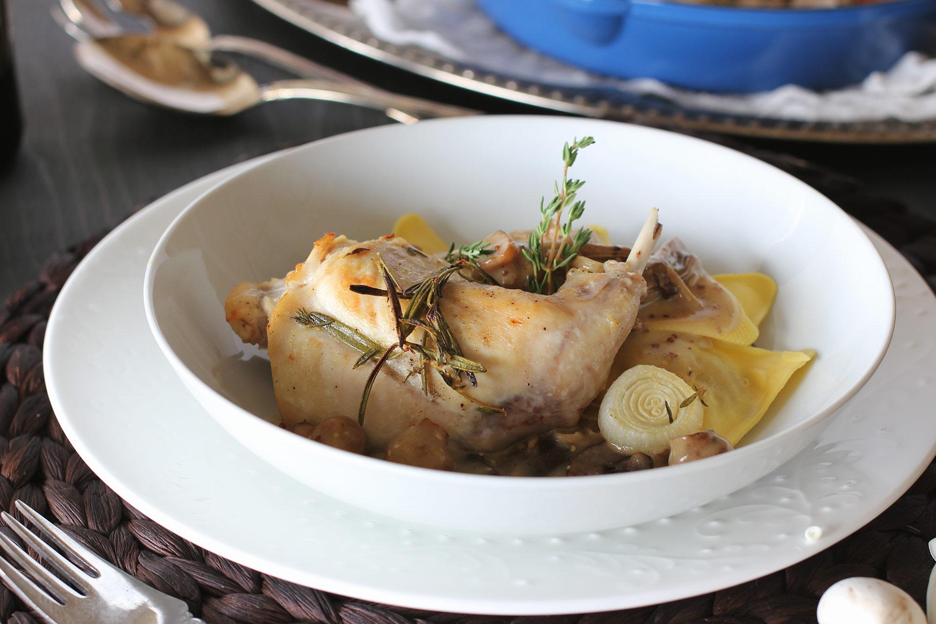 Braised Rabbit with Dijon Sauce
