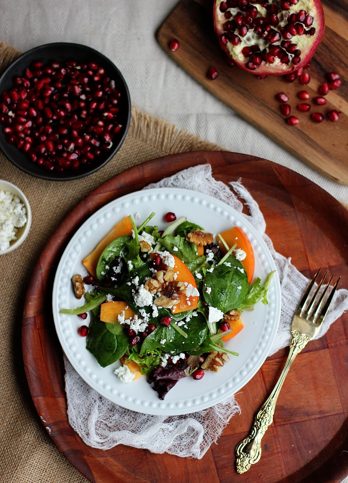 Pomegranate-Persimmon-GoatCheese-Salad