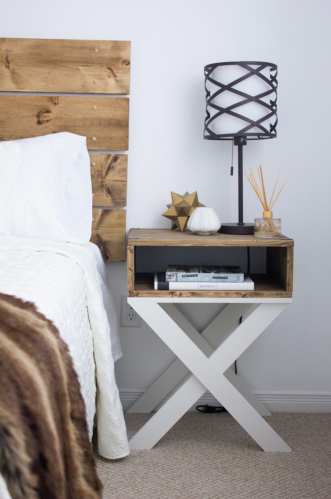 DIY Headboard Nightstand Reveal. U201c