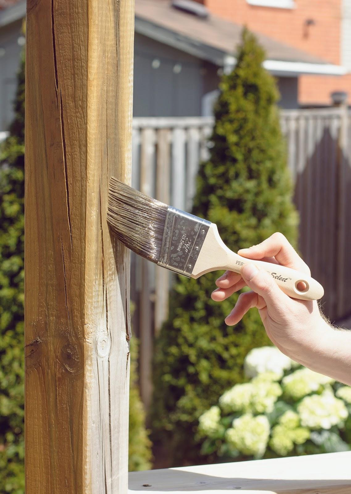 Applying-Behr-Antique-Oak-Stain