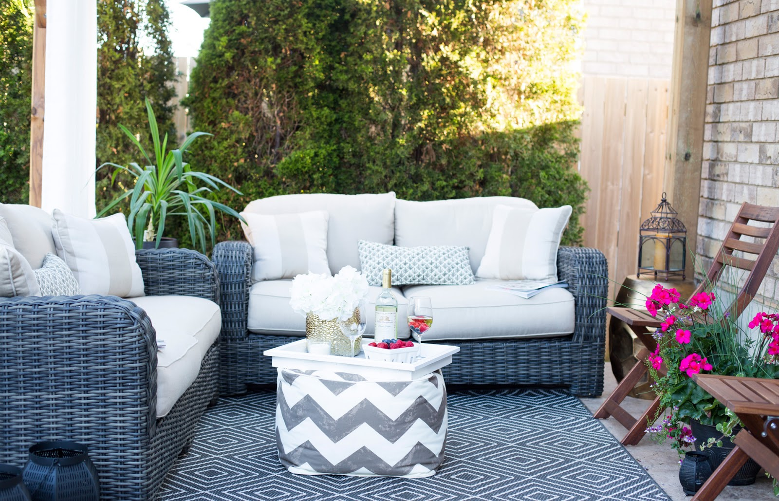 covered porch furniture transitional the following year we built shed which now know could not live without its great place to store all those odds and ends that dont fit in the covered patio reveal brittany stager