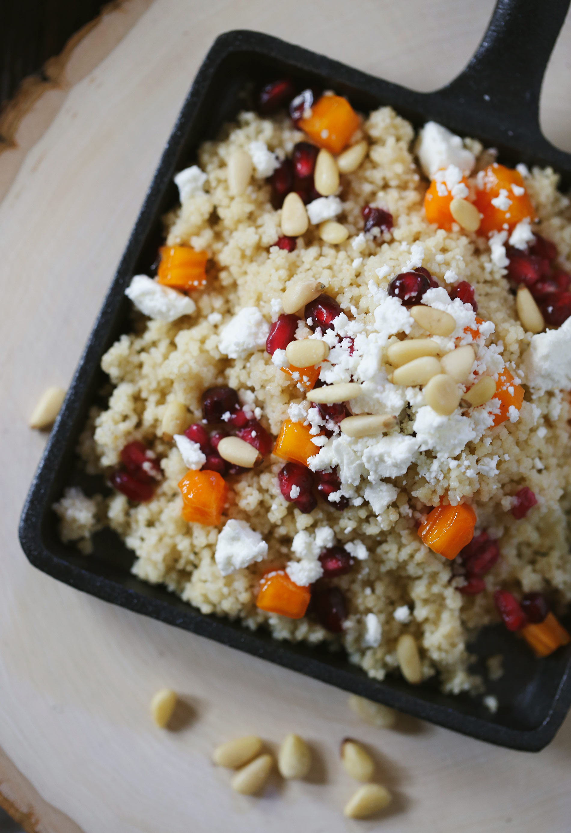 Couscous Salad with Persimmons, Pomegranates & Goat Cheese