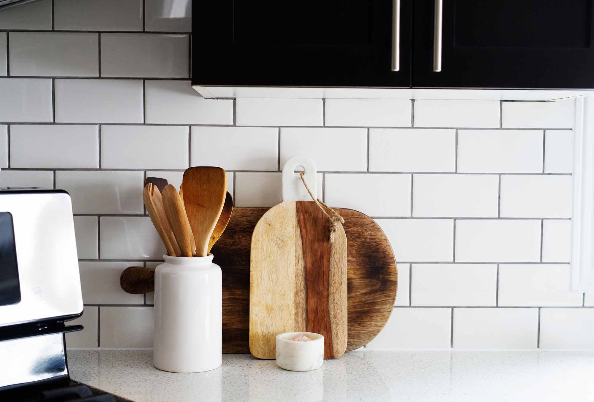 DIY Subway Tile Backsplash with Grey Grout