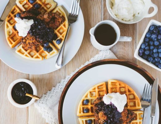 Chicken & Waffles with Blueberry Compote and Maple Syrup