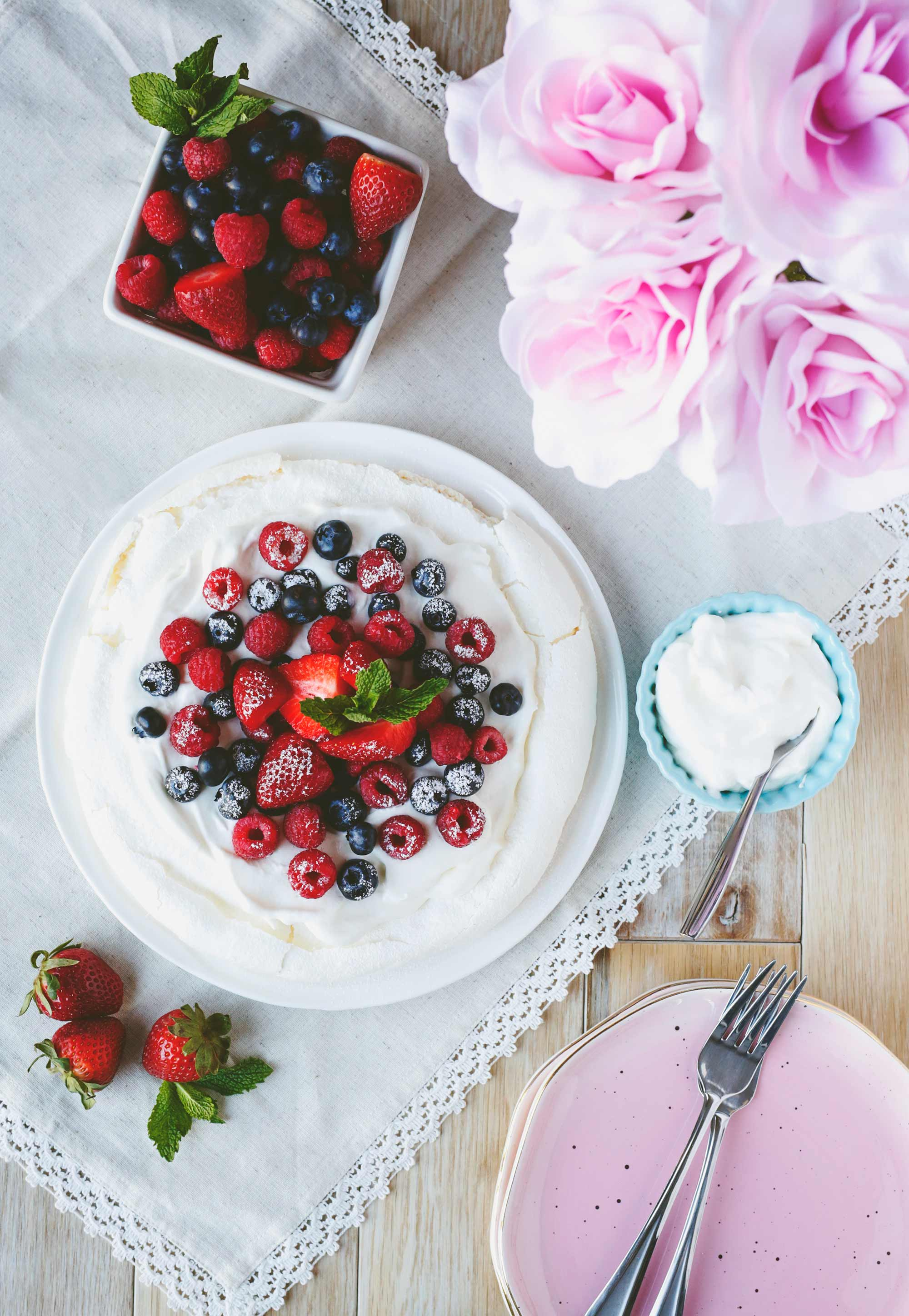 Easy Pavlova with Fresh Berries and Whipped Cream