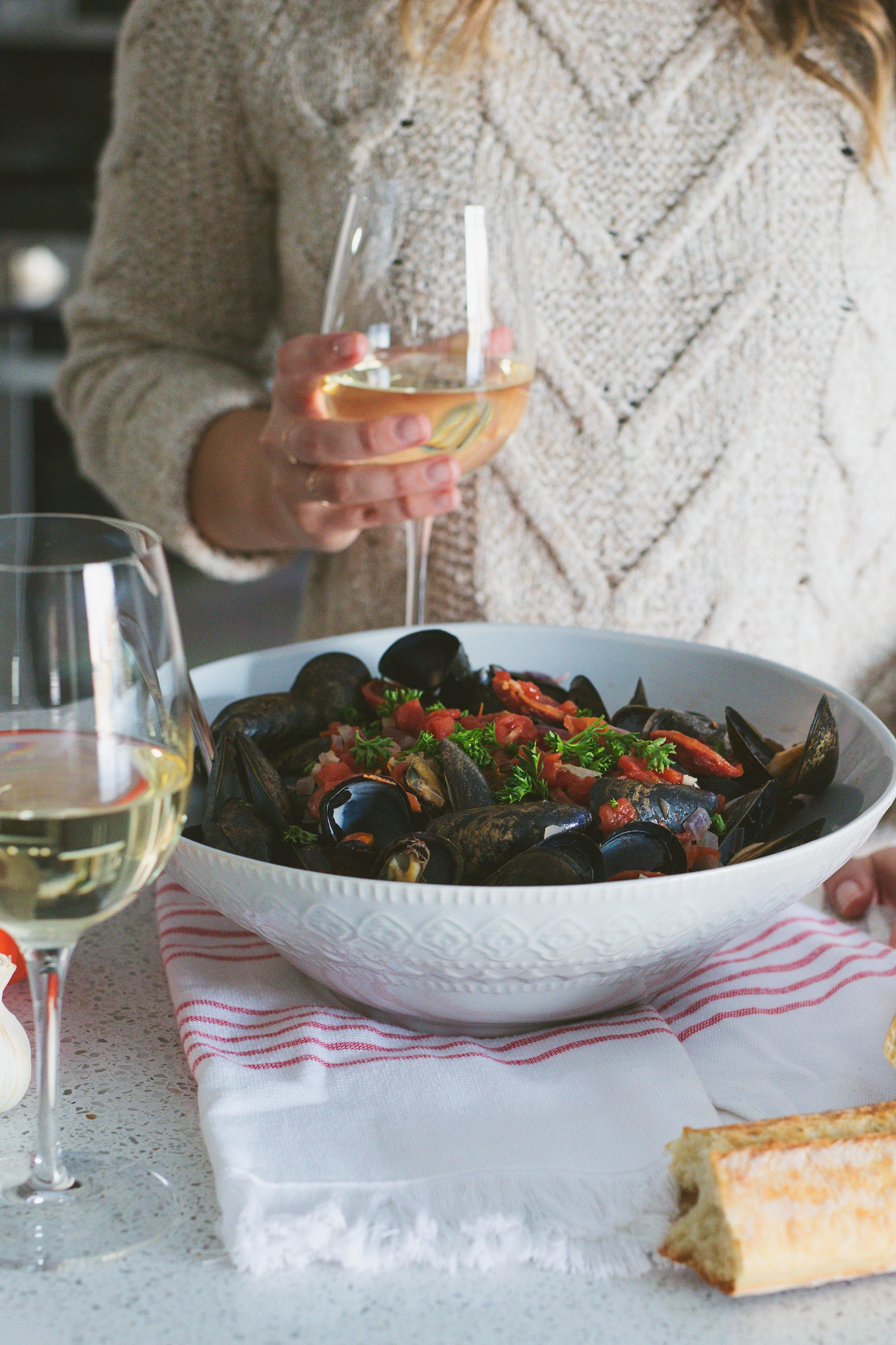 Serving Tomato and Chorizo Steamed Mussels with Wine