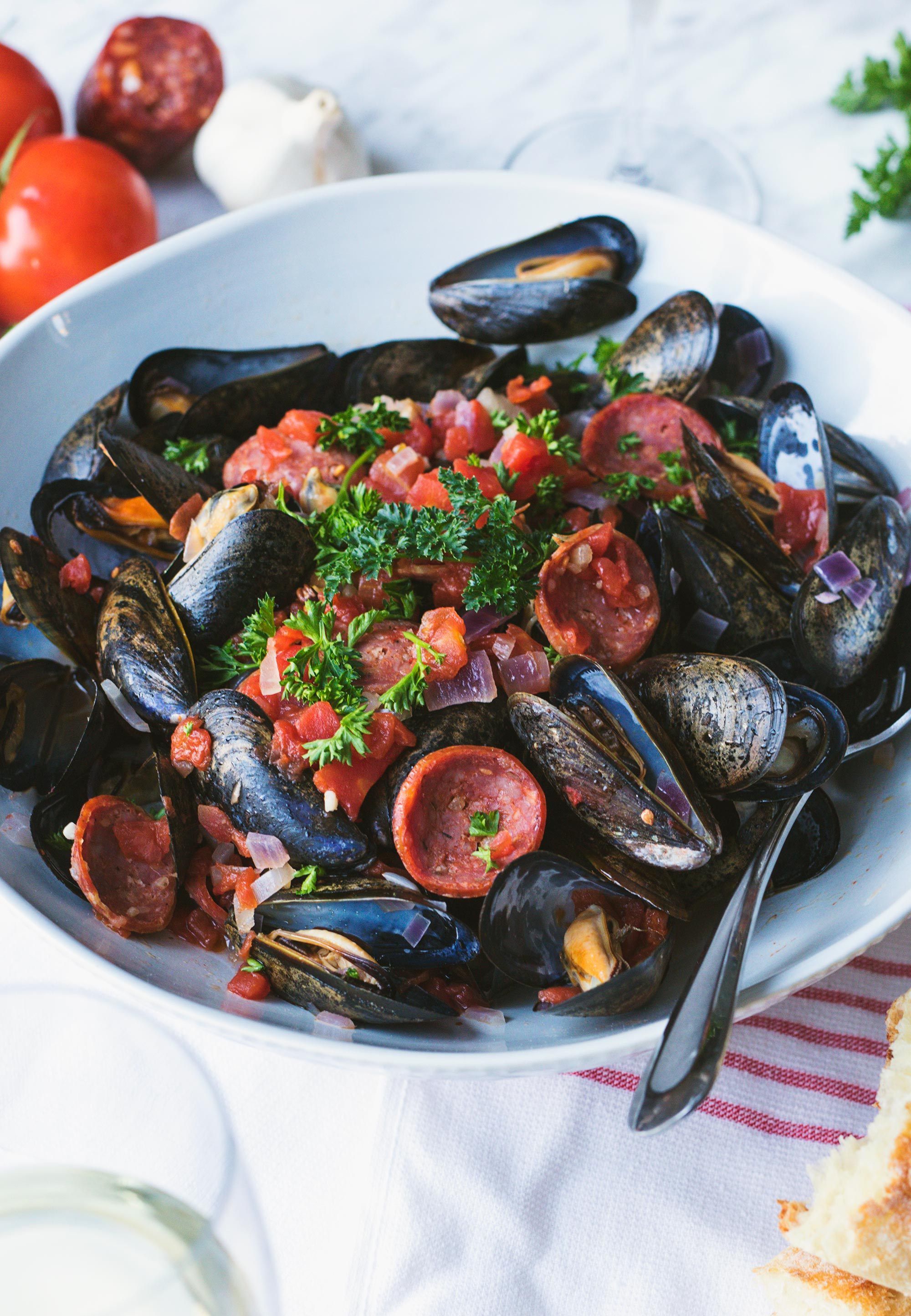 Easy Tomato, Chorizo & Wine Steamed Mussels