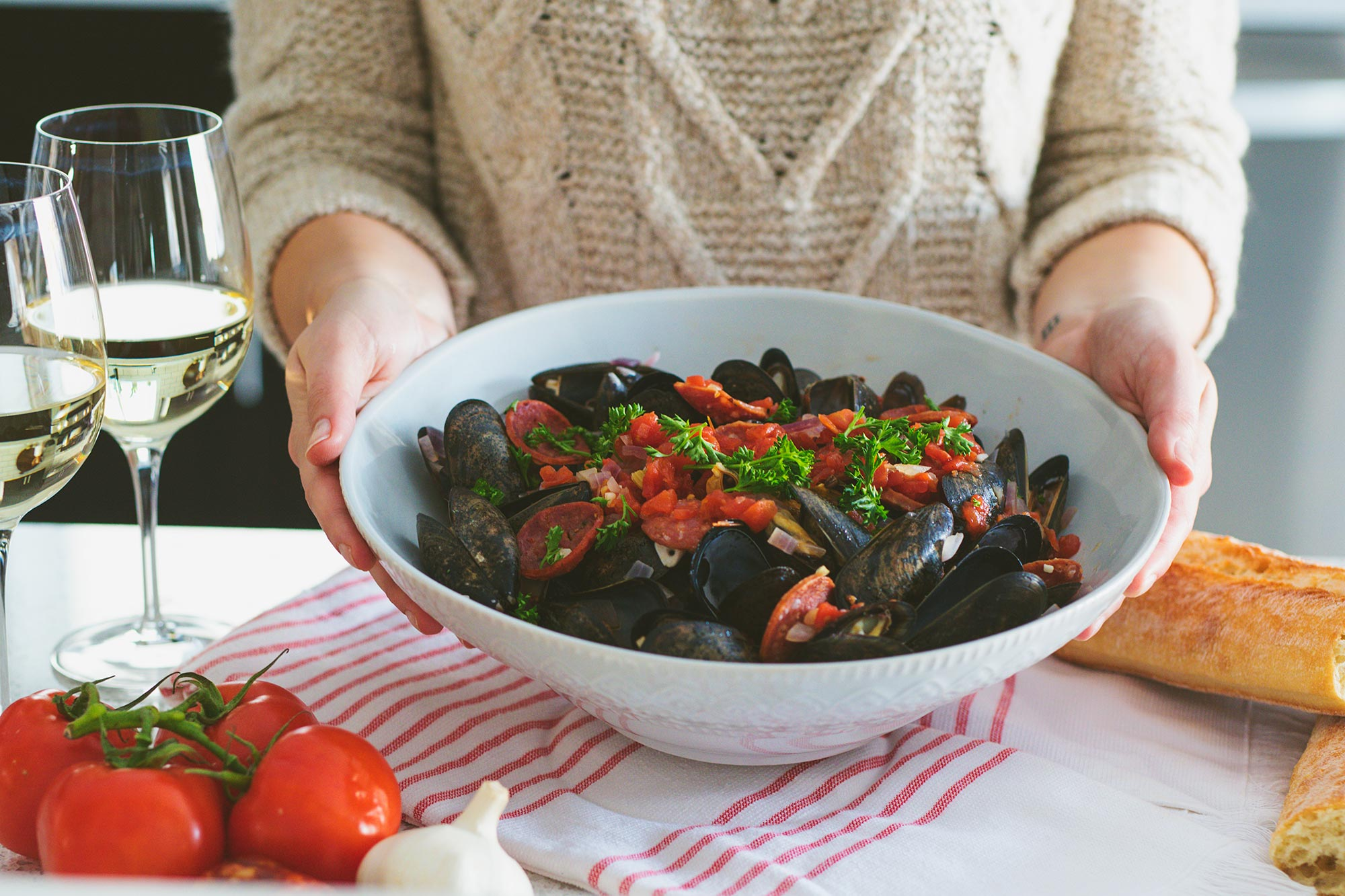 Serve Tomato, Chorizo & Wine Steamed Mussels as an Appetizer