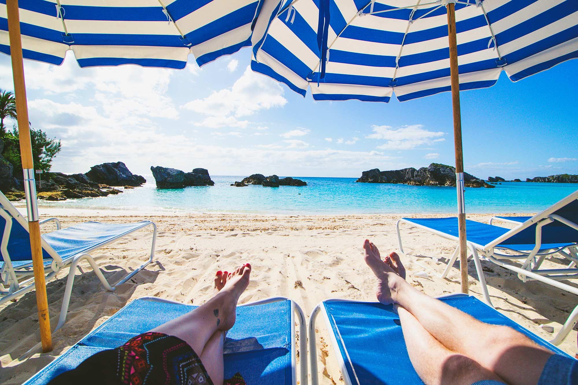 Lounging on the Beach at Fairmont Southampton Bermuda