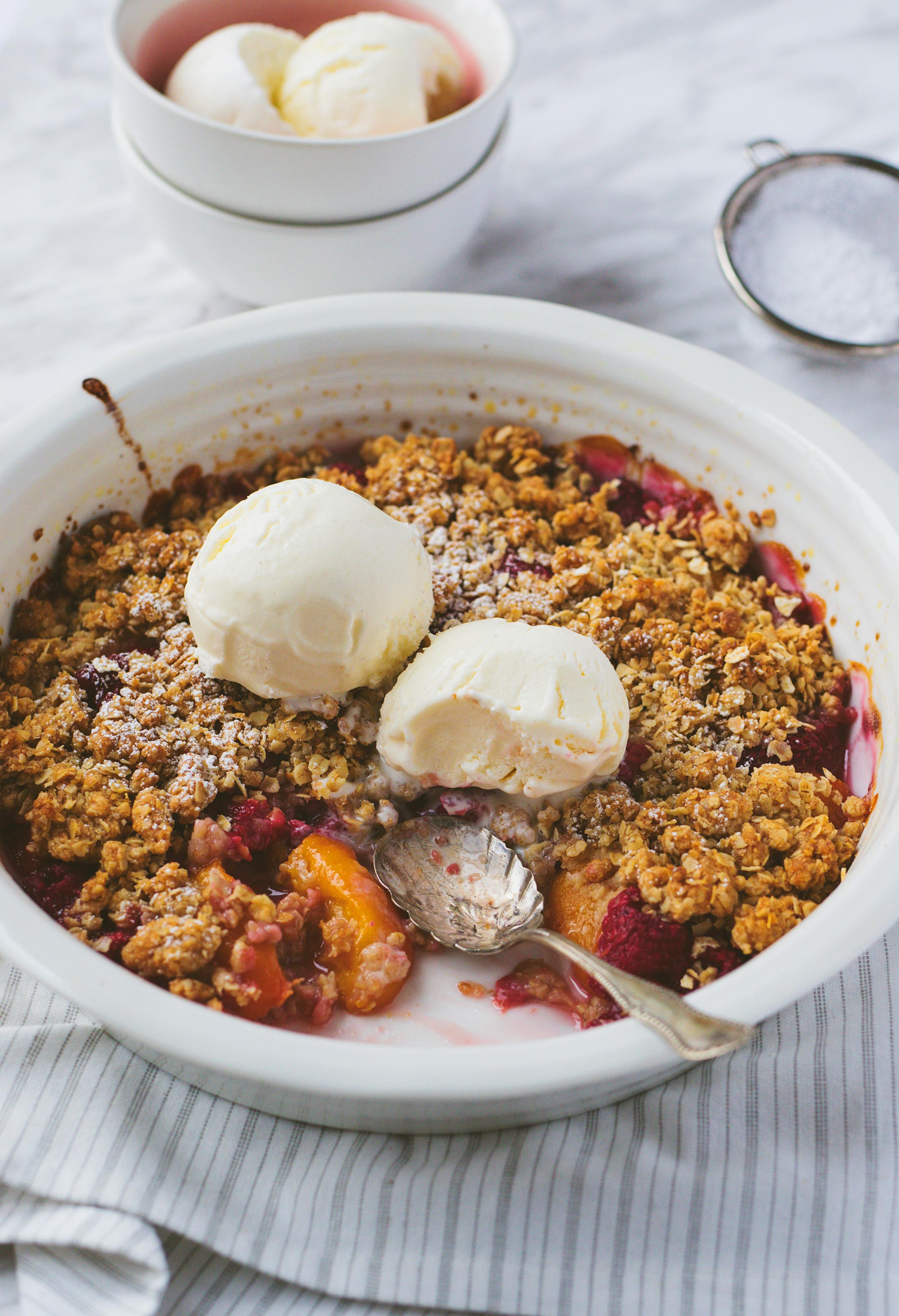 Peach and Raspberry Crisp for Valentine's Day