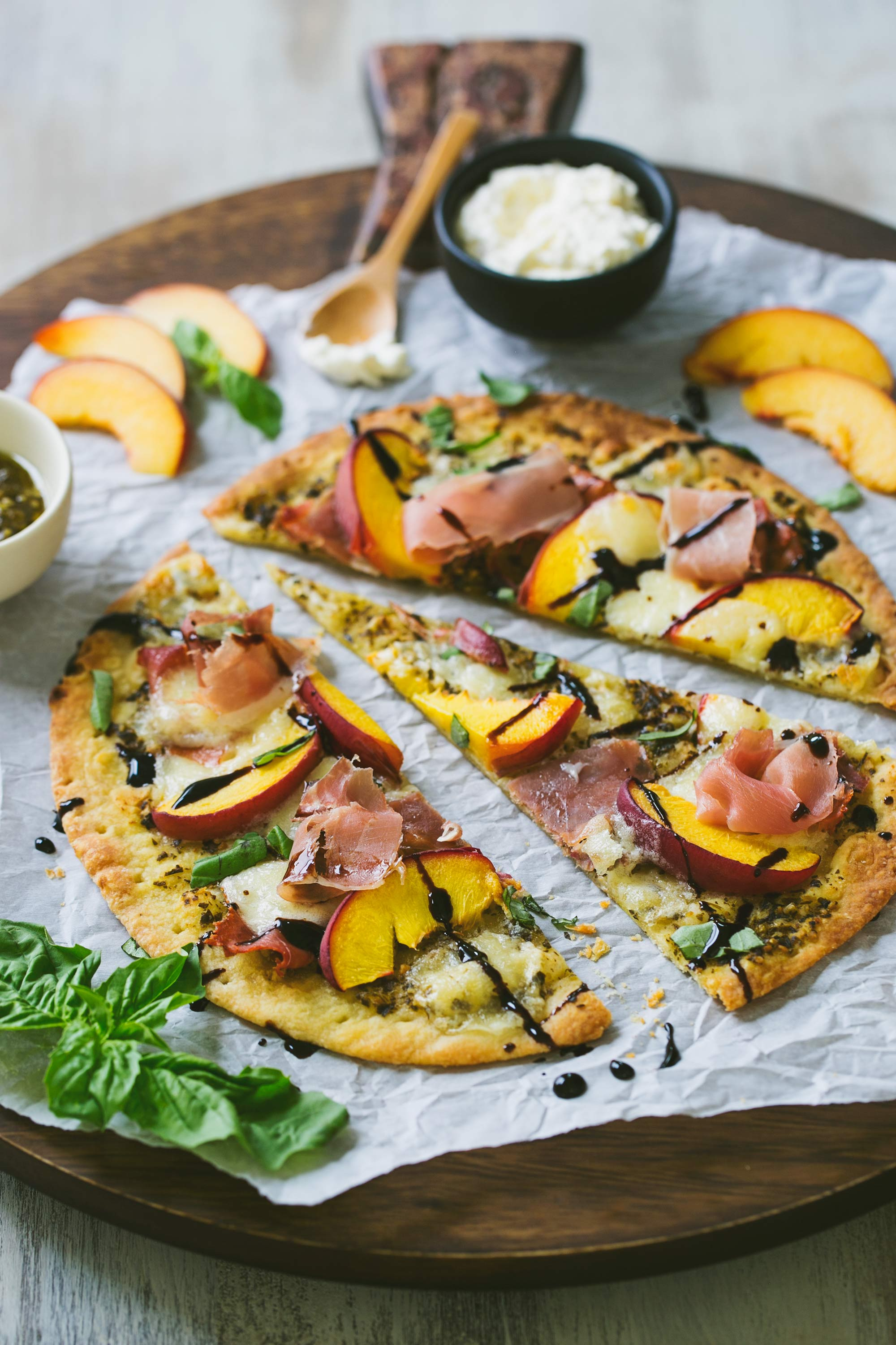 Summer Peach, Prosciutto & Burrata Flatbread
