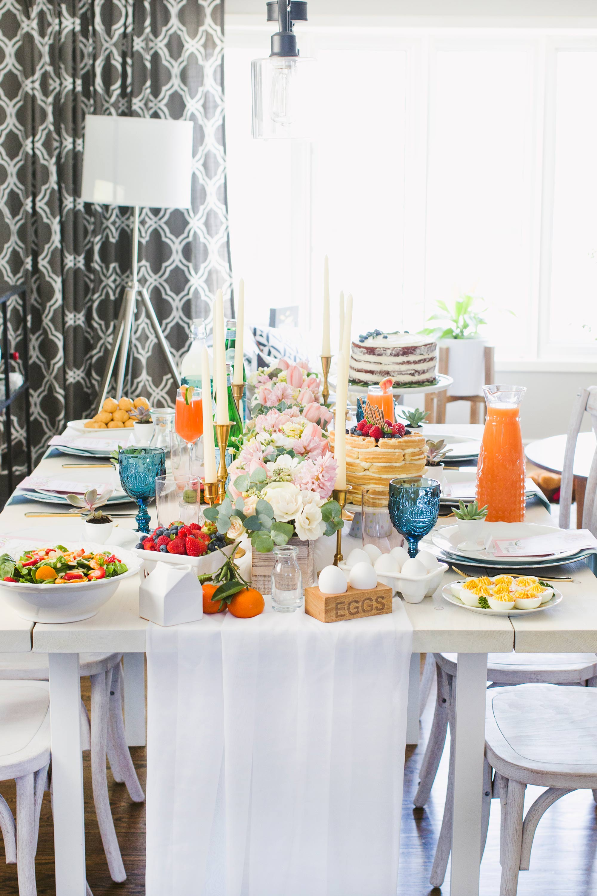 Mother's Day Brunch Tablescape, Flowers and Decor