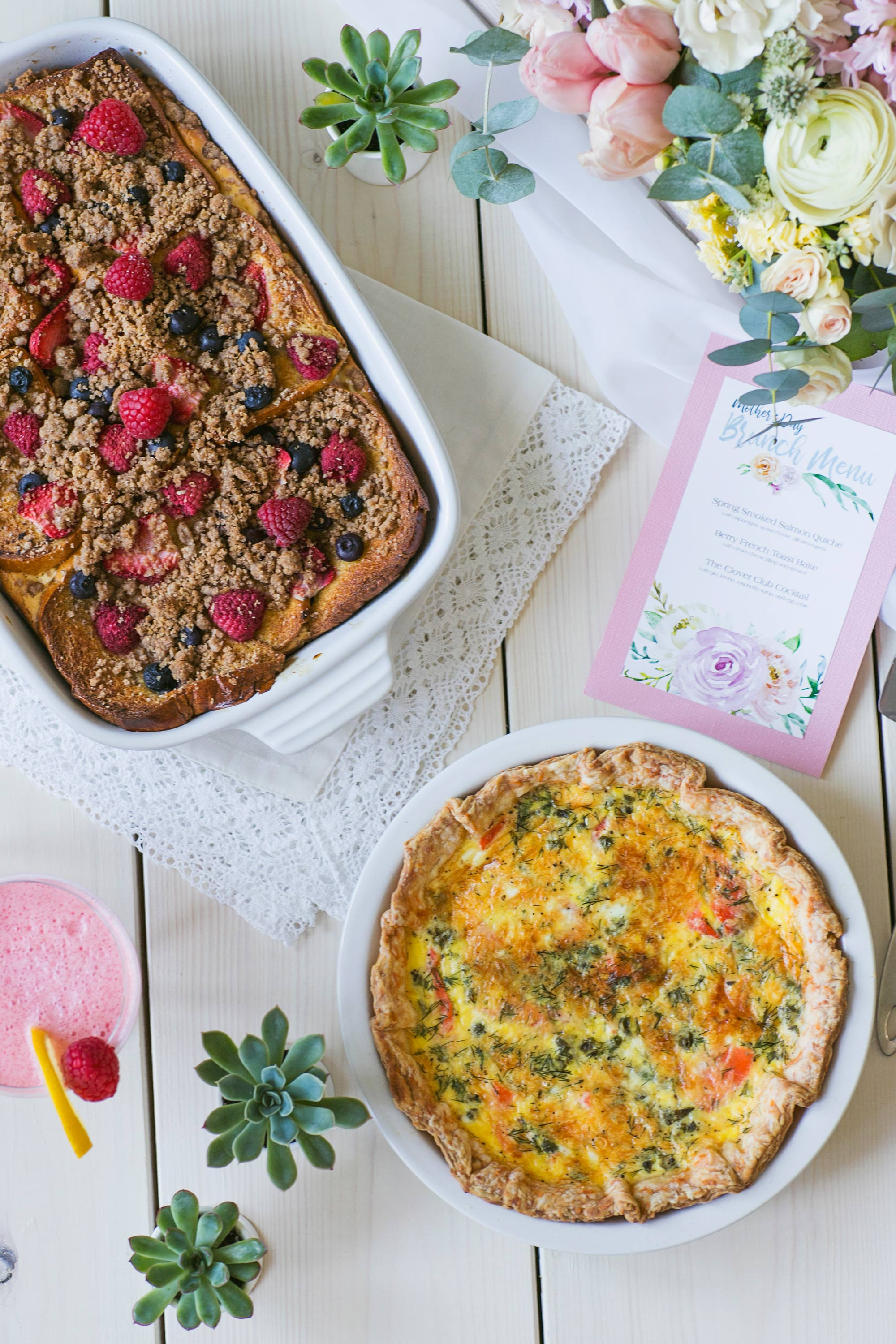 Mother's Day Brunch French Toast Bake & Salmon Quiche