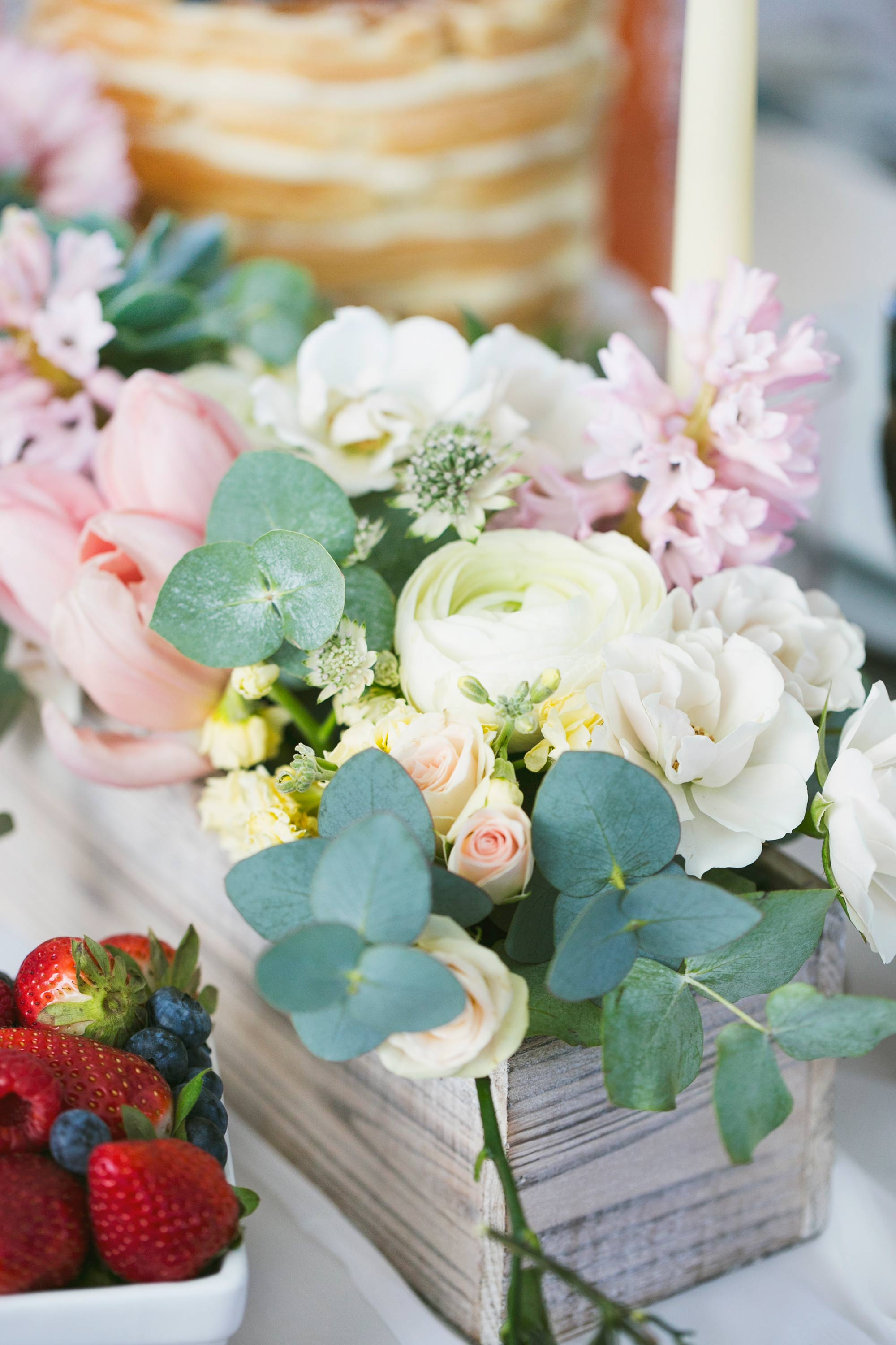 Ranunculus, Hyacinths, Tulips and Eucalyptus for Mother's Day Brunch