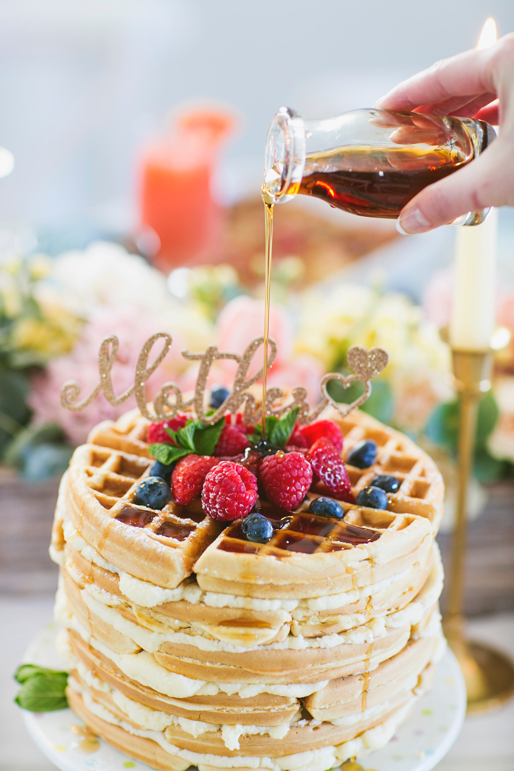 Mother's Day Brunch Waffle Cake with Syrup