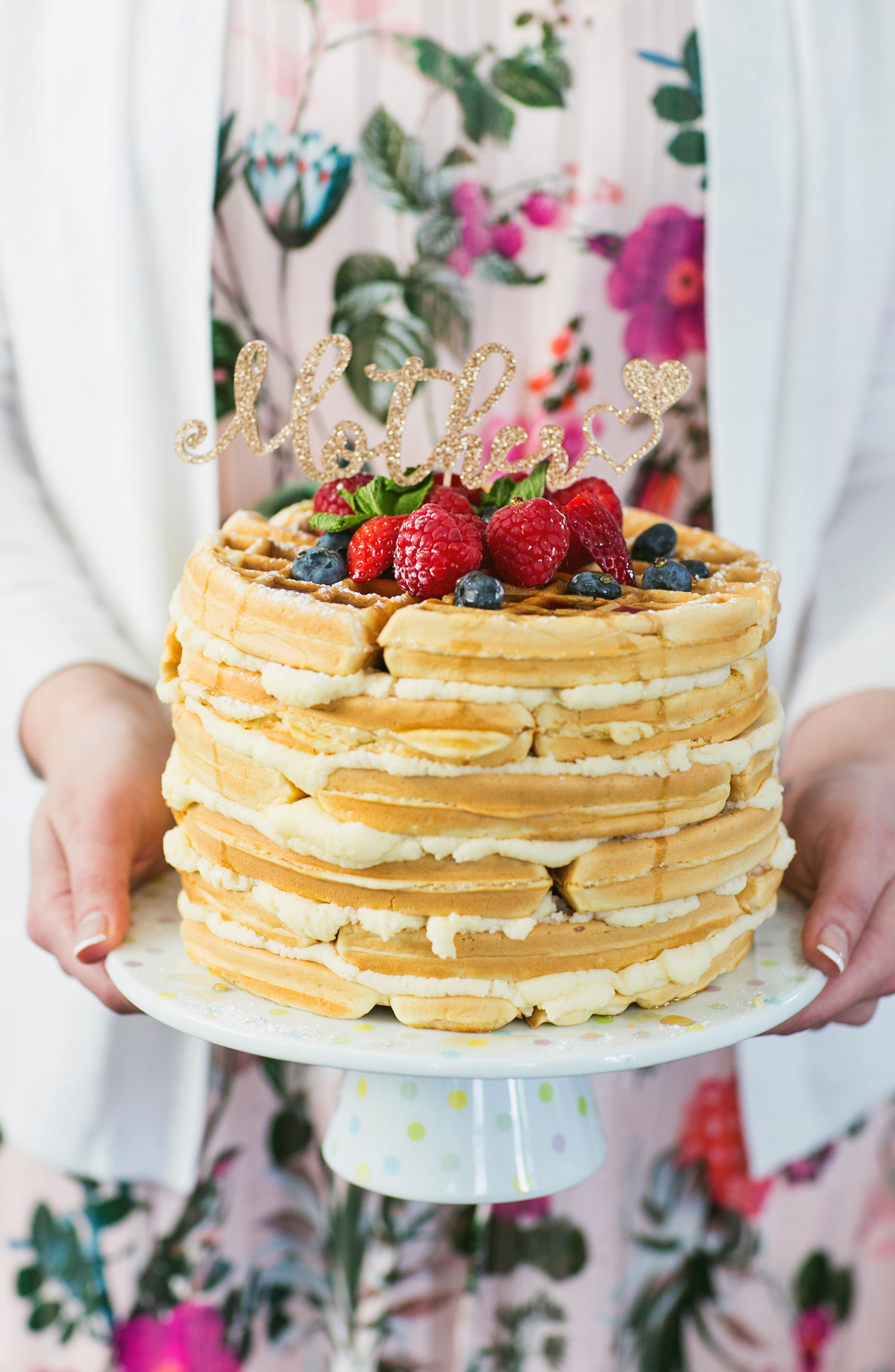 Mother's Day Layered Waffle Cake with Fresh Berries