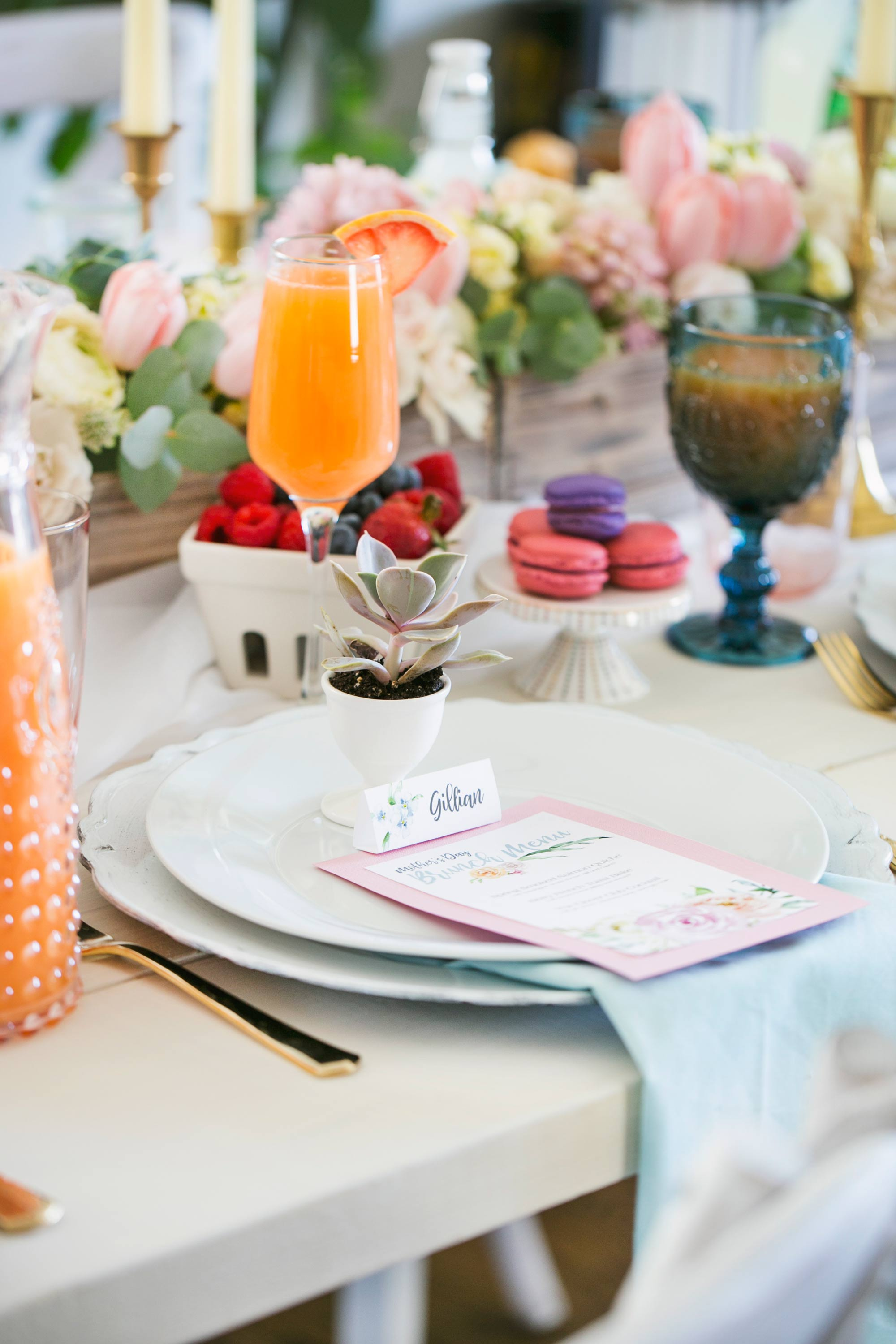 Easy DIY Printable Menu and Placecards for Mother's Day