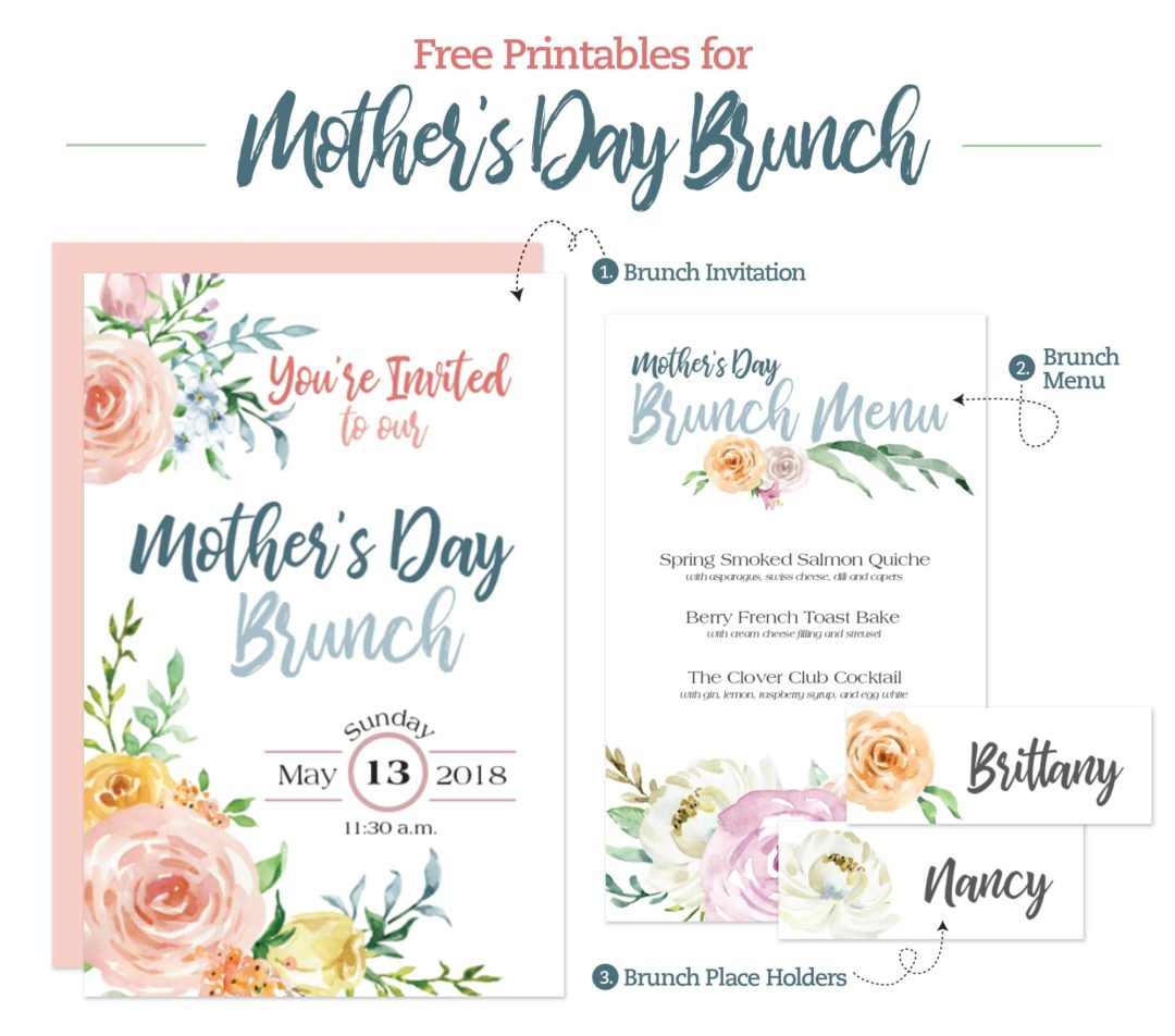 graphic about Printable Mothers Day Pictures known as Moms Working day Brunch Printable Menu, Invitation and Vacation spot