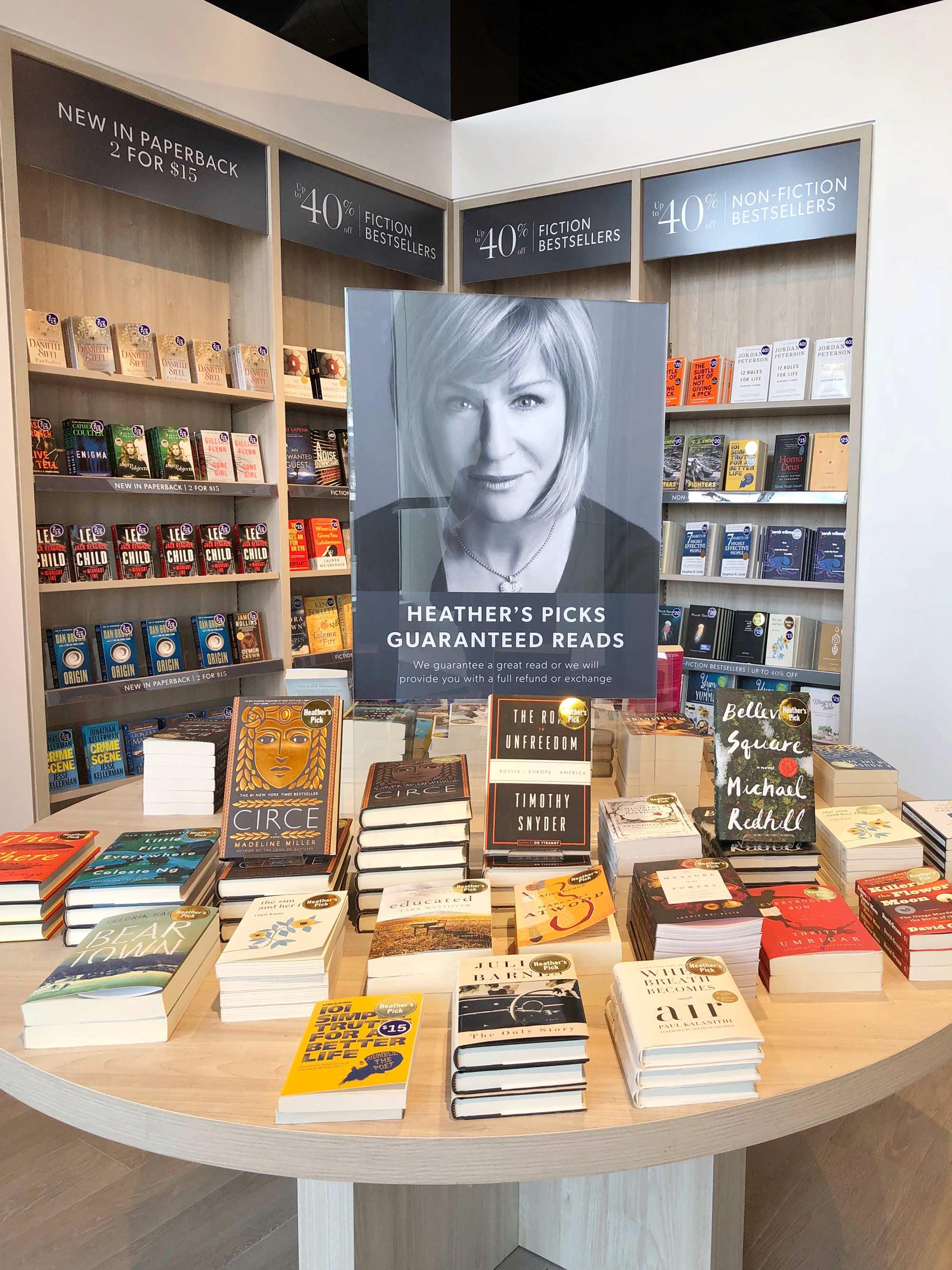 Heather's Pick Table at Indigo Kitchener Bookstore
