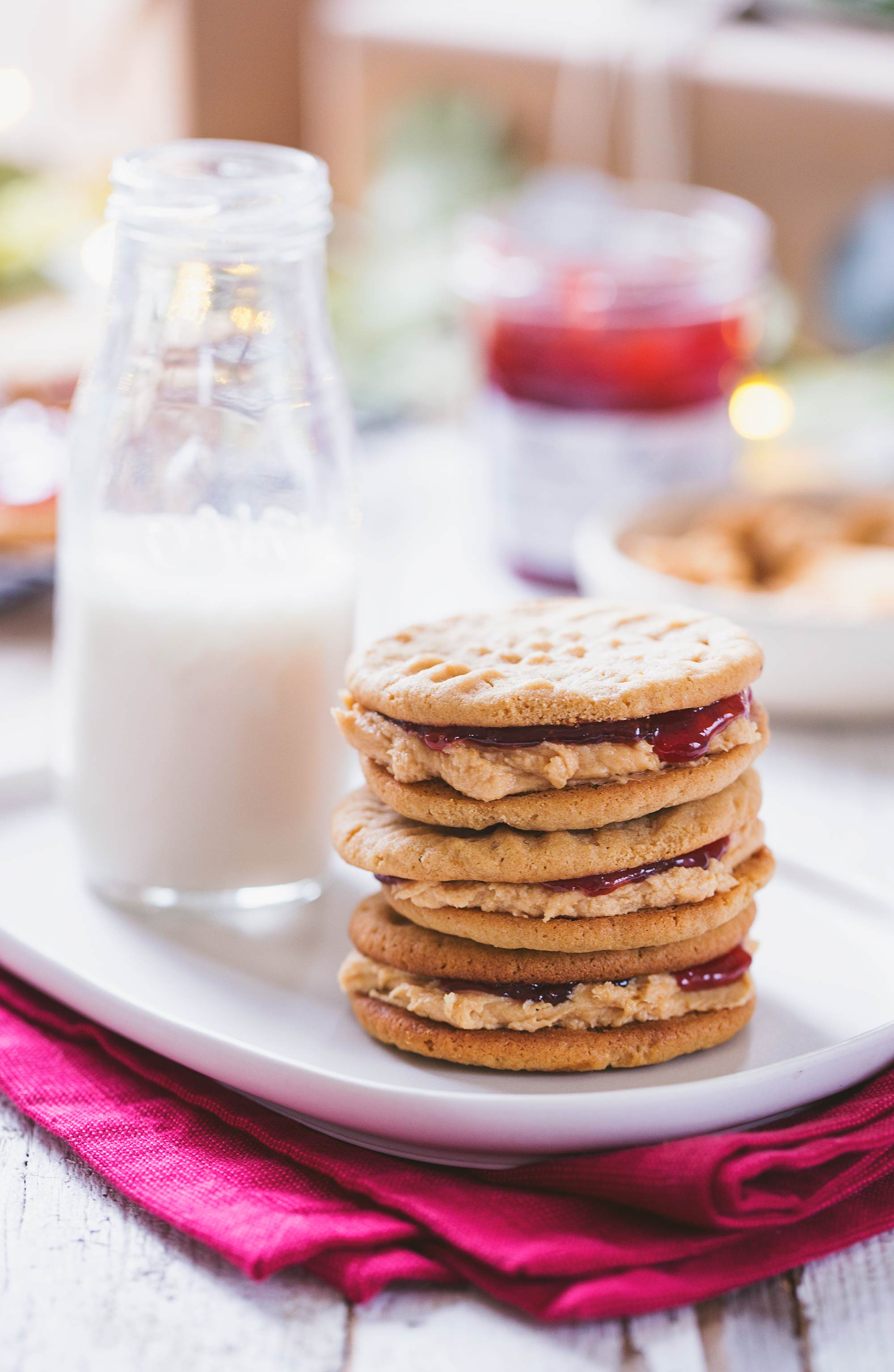 Peanut Butter & Bonne Maman Jelly Filled Cookies