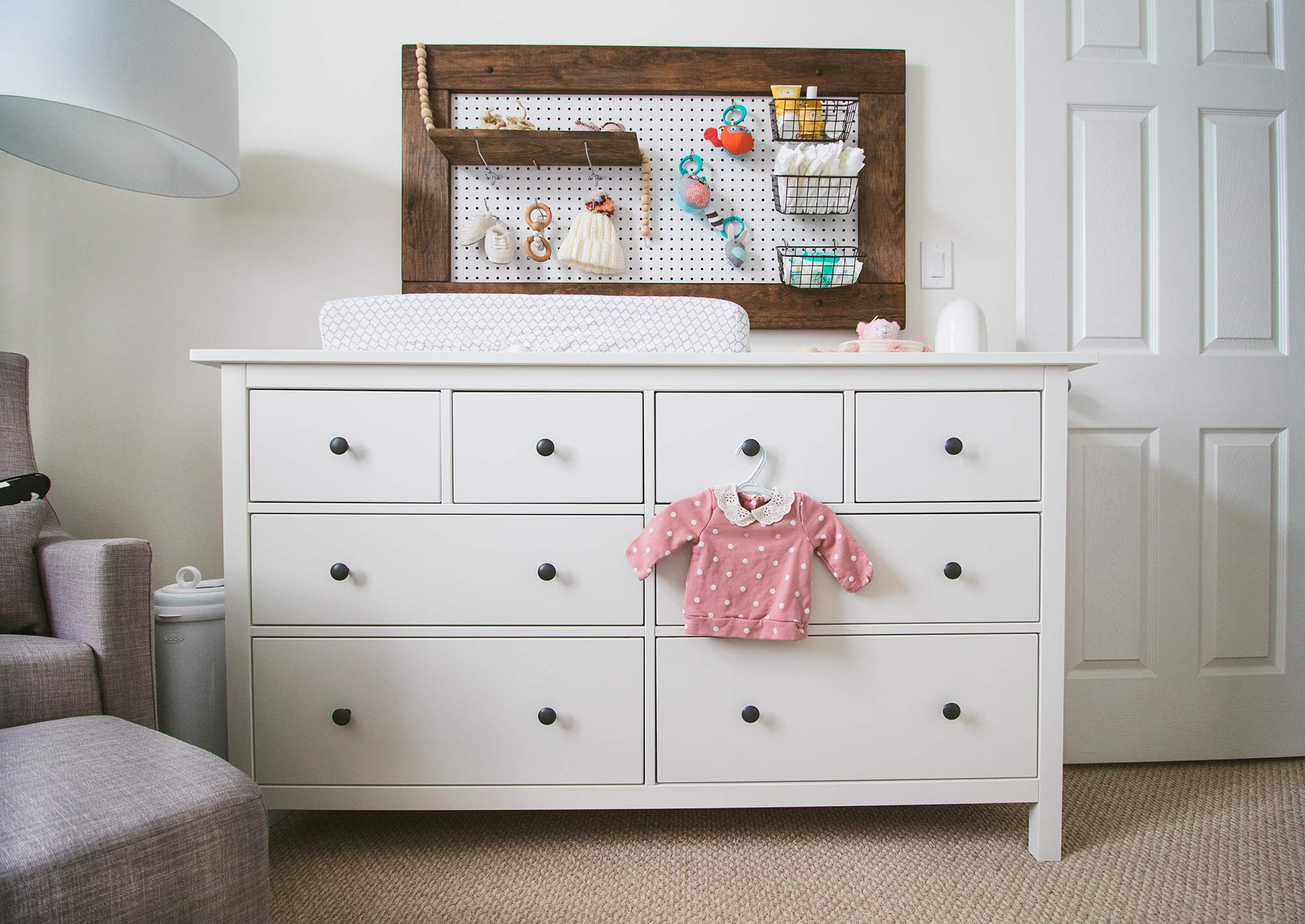 Baby Girl Nursery Peg Board Changing Station