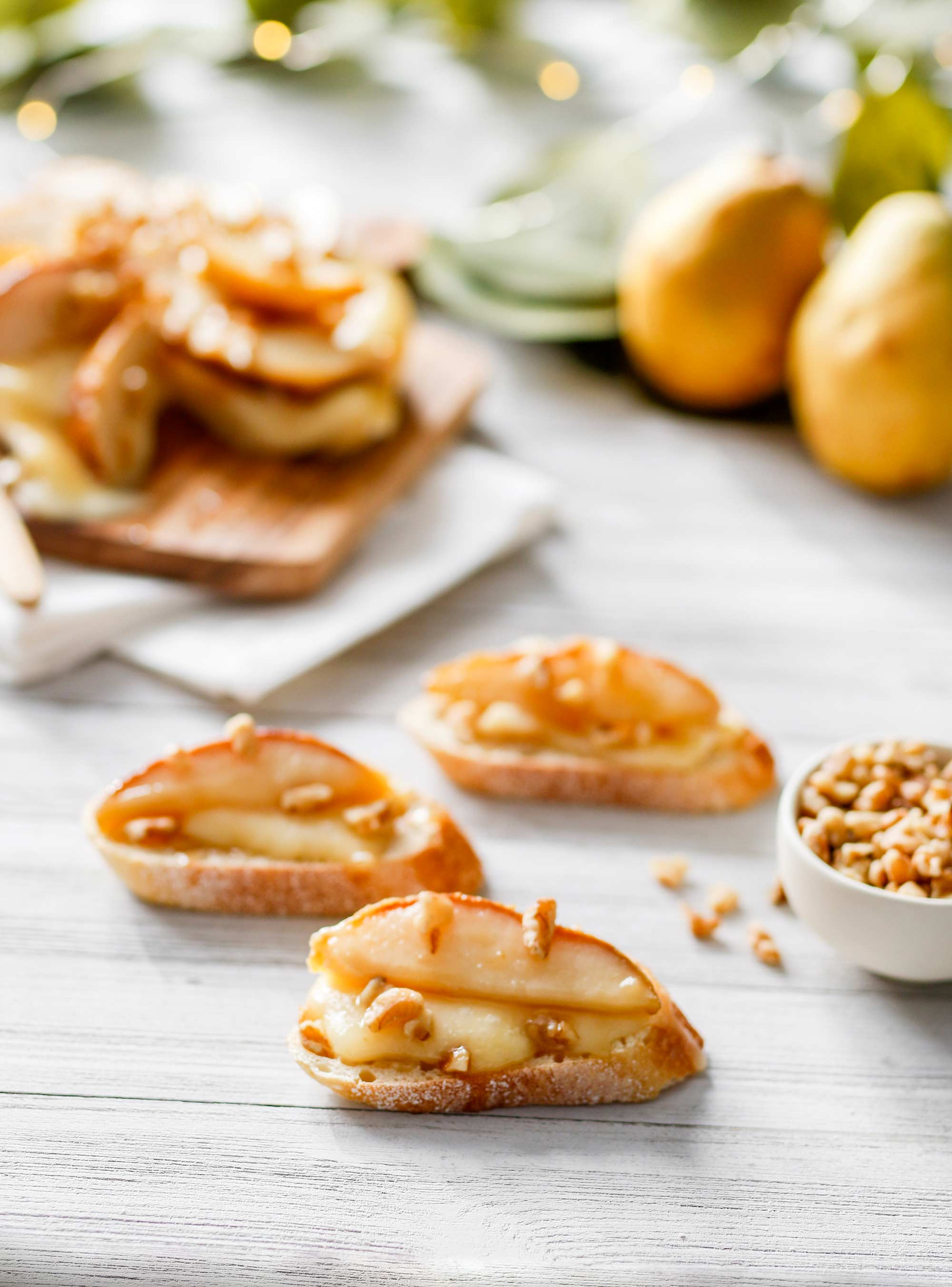 Caramelized Pear and Walnut Topped Brie with Honey