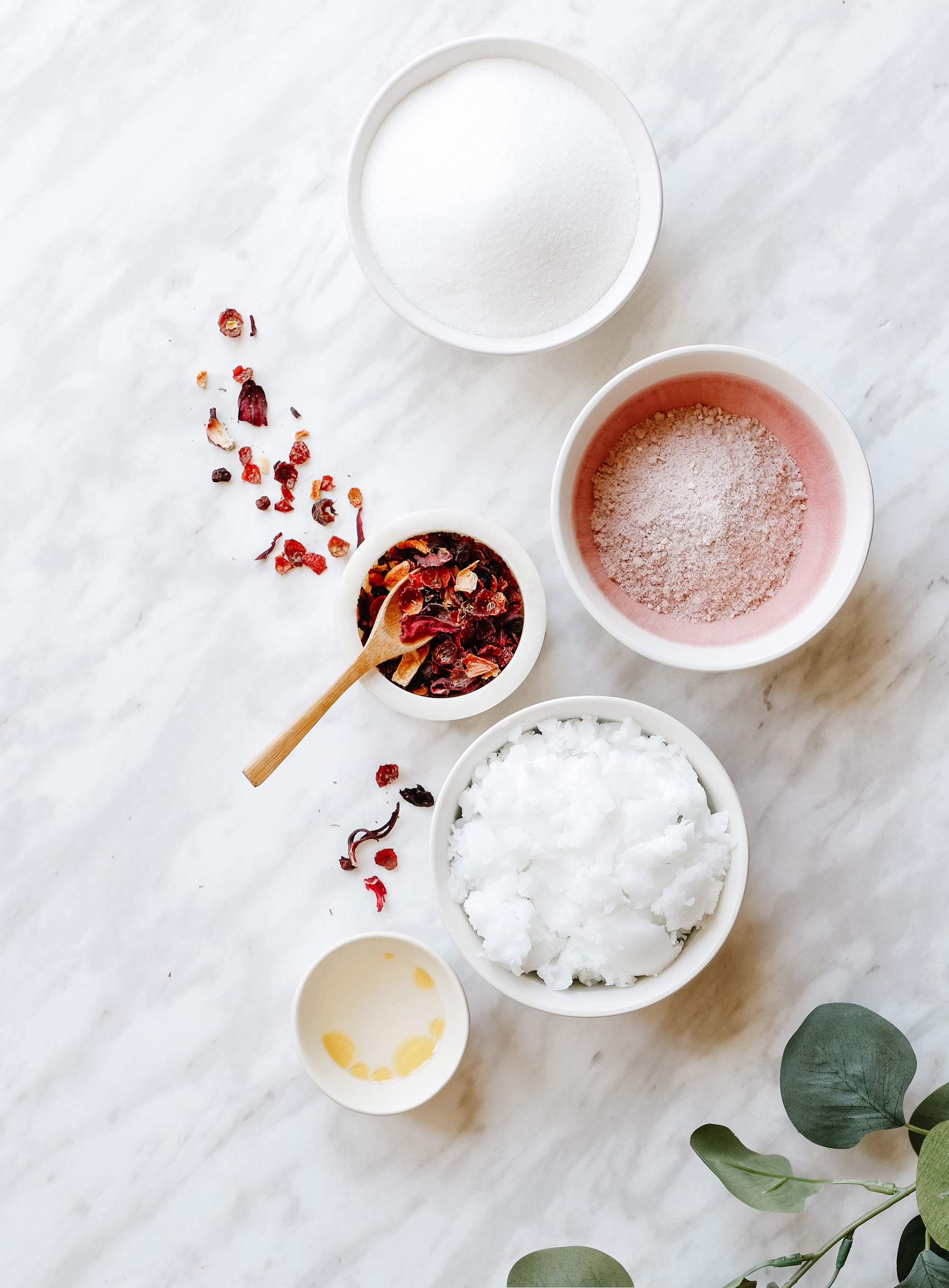 Ingredients for Rose Sugar Body Scrub for Mother's Day