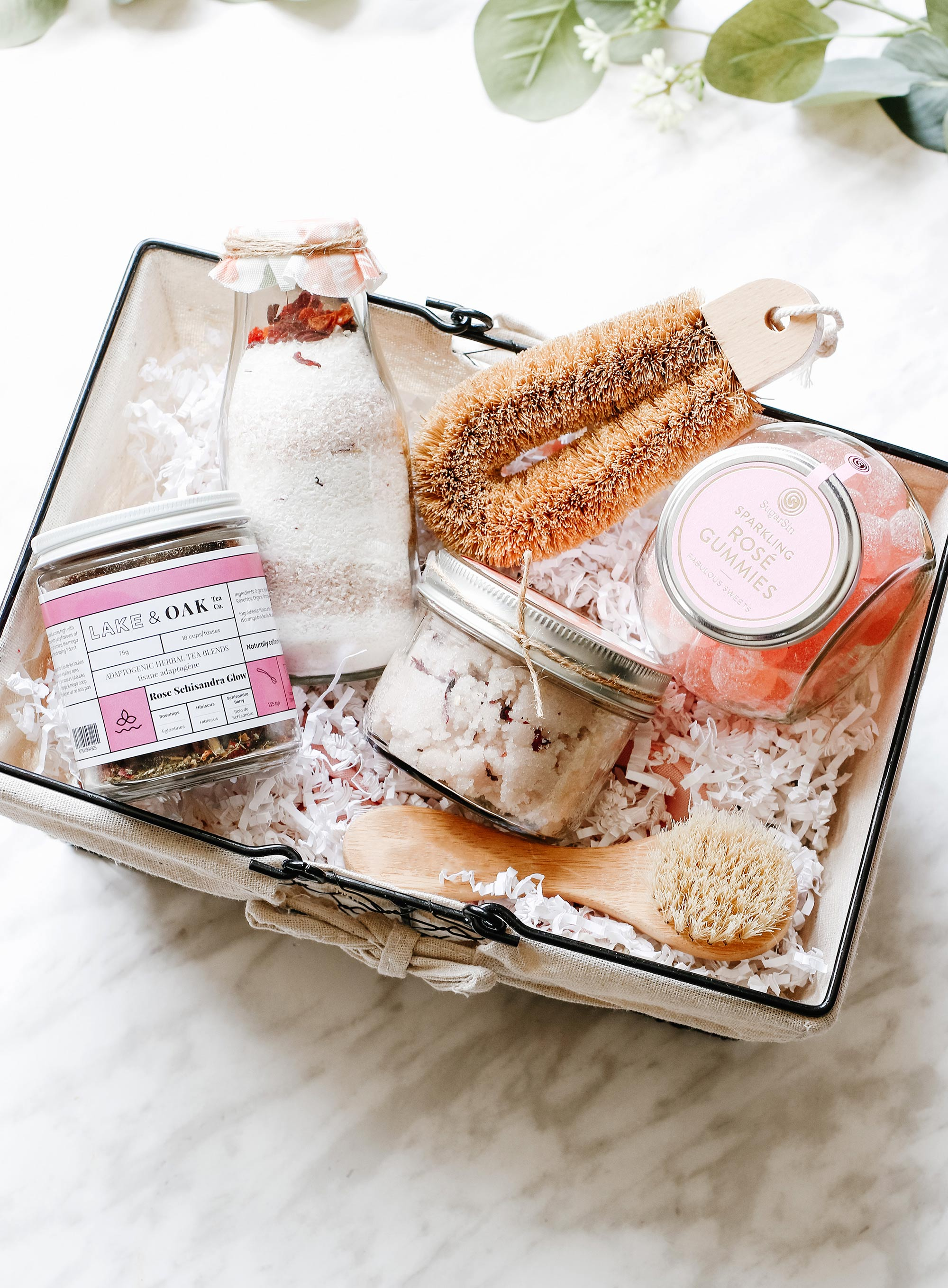 Rose Sugar Body Scrub DIY Gift Basket for Mother's Day