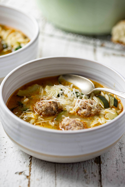 Bowl of Fall-inspired Italian Meatball & Orzo Soup