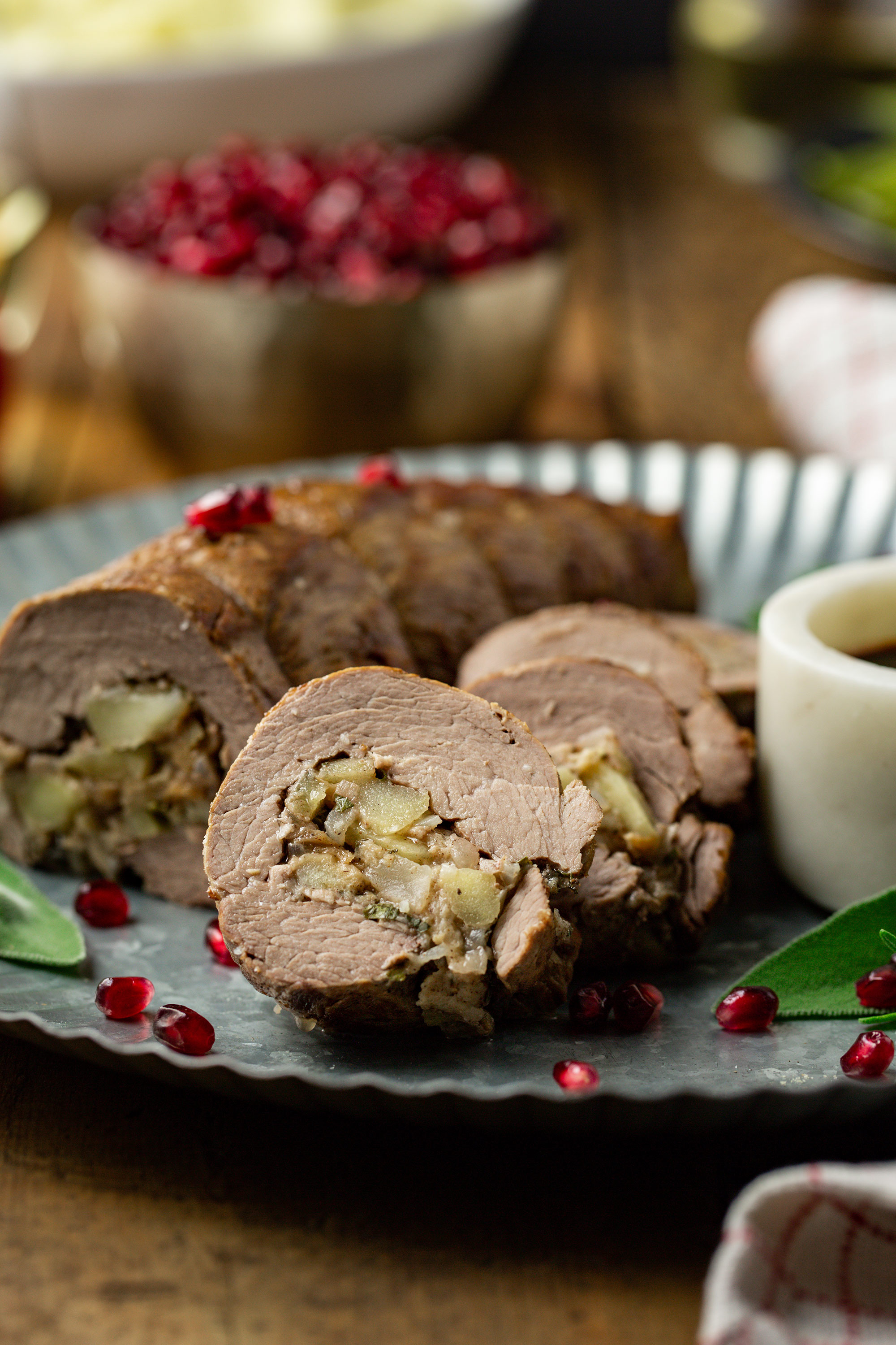 Pomegranate-Glazed & Apple Stuffed Veal Tenderloin