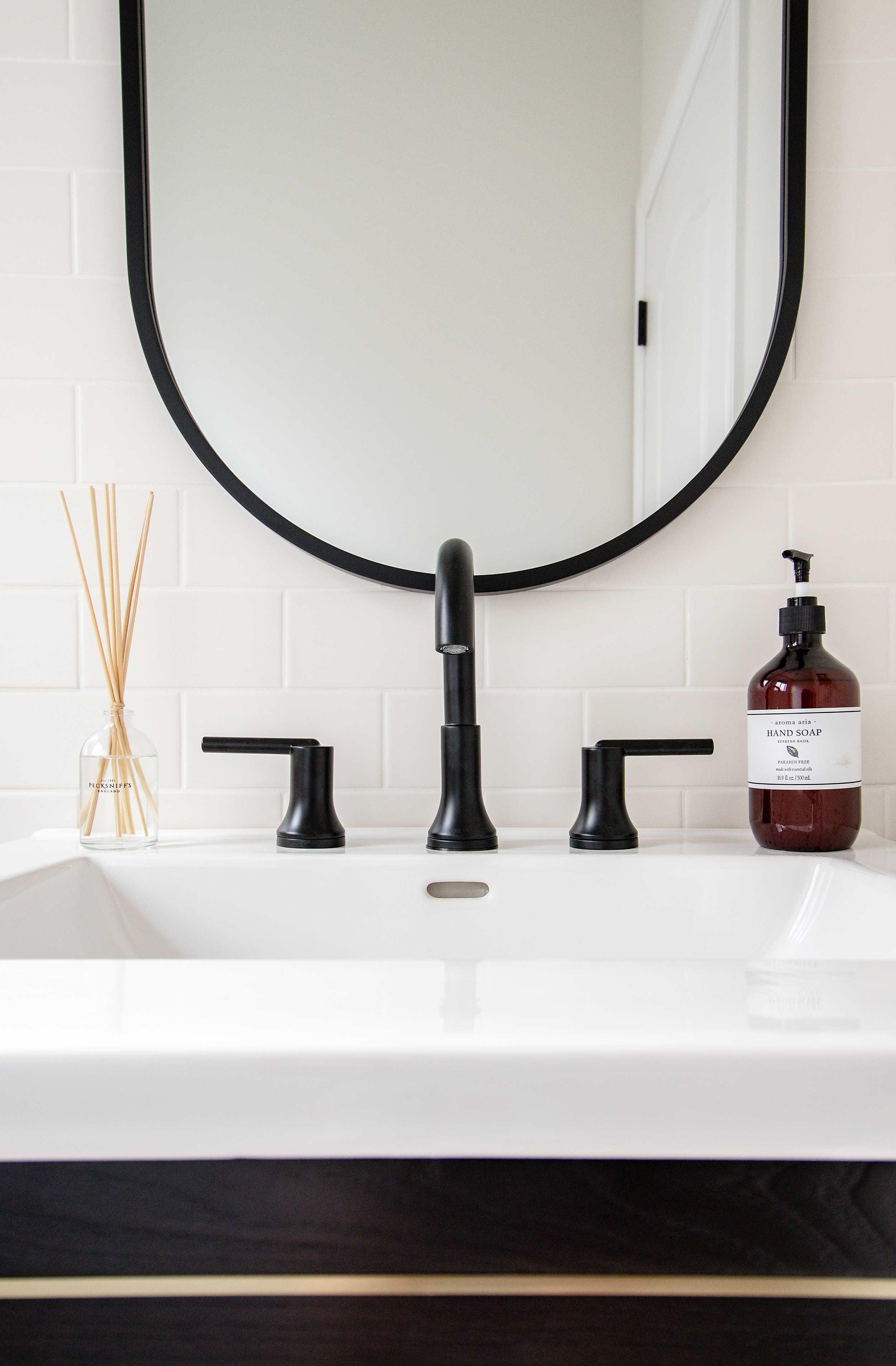 Delta Trinsic Widespread Faucet in Farmhouse Bathroom